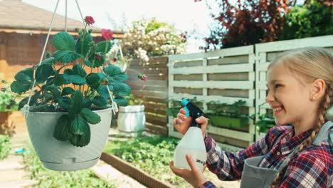 Kind-Gießt-Erdbeere-Im-Gemüsegarten-Und-Lächelt-In-Die-Kamera
