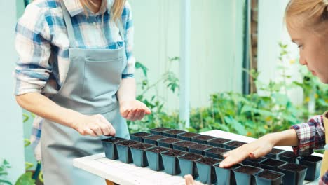 Family-Planting-Seeds-Of-Vegetables-To-Soil-In-Pots