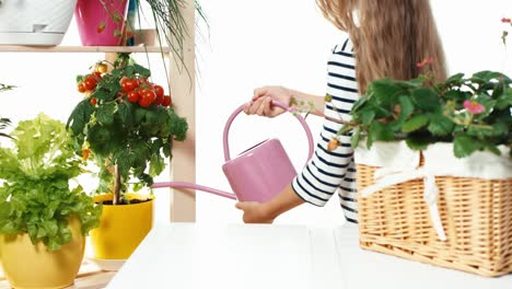 Flower-Girl-Watering-Cherry-Tomatoes-Dolly-Shot