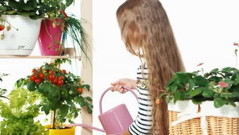 Flower-Girl-Watering-Vegetables-On-White-Background-Dolly-Shot