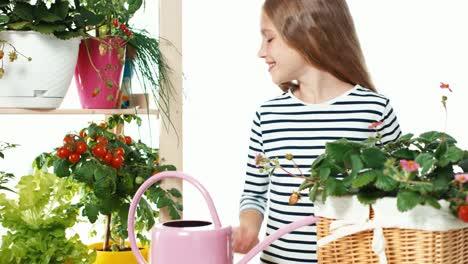 Flower-Girl-Watering-Vegetables-Dolly-Shot