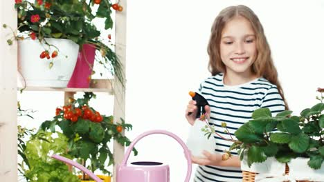 Girl-9-Years-Old-Sprinkling-Vegetables-On-White-Background