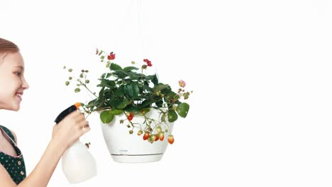 Girl-Caring-About-Strawberry-In-Hanging-Pot-Child-Watering-Plant