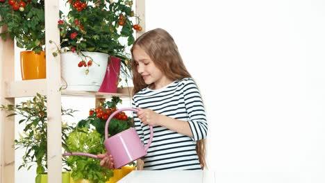Girl-Carring-Of-Her-Plants-On-White-Background-Child-Standing-Near-Shelf