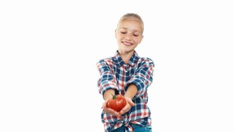 Mädchen-Hält-In-Den-Händen-Große-Reife-Tomate-Isoliert-Auf-Weiß