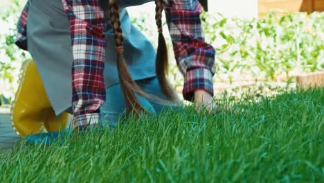 Girl-Is-Touching-Green-Grass