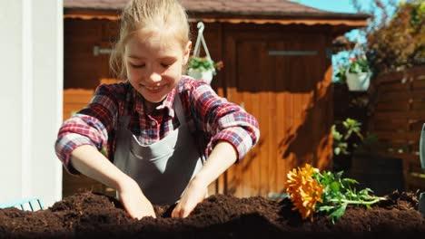 Girl-Planting-Orange-Flor-To-Ground-Dolly-Shot