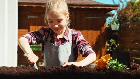 Niña-Plantando-Flores-Amarillas-Al-Suelo-En-Un-Día-Soleado