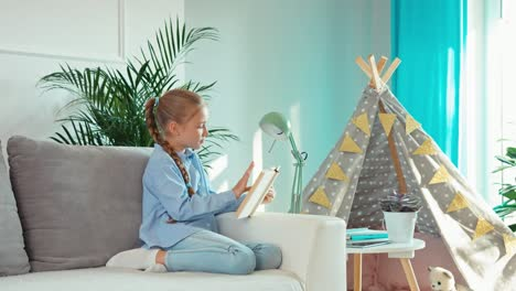 Girl-Reading-Book-And-Relaxing-In-Living-Room