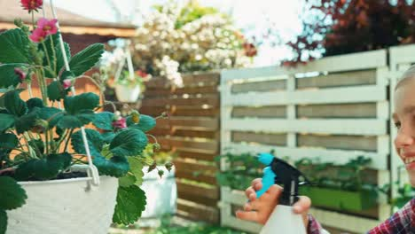 Mädchen-Sprüht-Wasser-Auf-Erdbeere