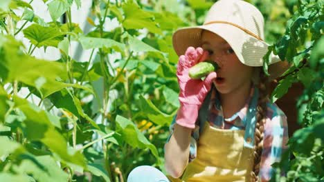 Girl-Tore-Off-The-Cucumber-And-Playing-With-Vegetable-In-Her-Hands-And-Laughing