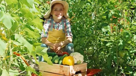 Mädchen-Mit-Einer-Gemüseernte-Im-Küchengarten-Am-Sonnigen-Tag