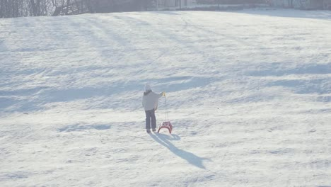 Happy-Girl-8-Years-Waving-Hand-At-Camera-From-Snow-Hill-With-Sled-In-Winter