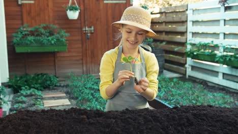 Kleines-Bauernmädchen-Das-Gurkensämlinge-In-Den-Boden-Pflanzt