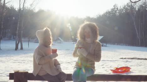 Mother-And-Daughter-Drinking-Hot-Tea-In-Winter-Forest-Sitting-Against-The-Sun