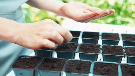 Mother-And-Daughter-Planting-Seeds-To-Soil-In-Pots