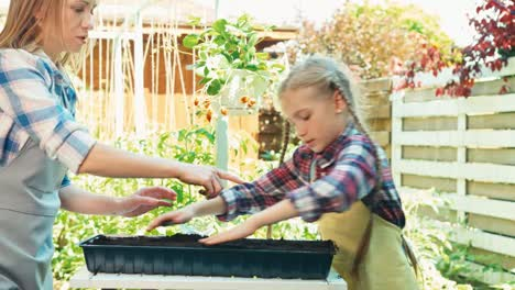 Mother-And-Daughter-Preparing-Soil-For-Seeds-Of-Vegetables