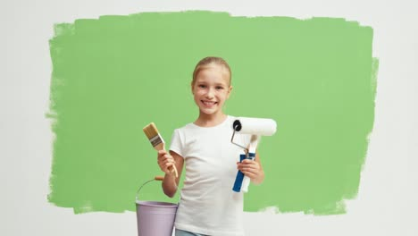 Painter-On-The-Background-Of-Green-Screen
