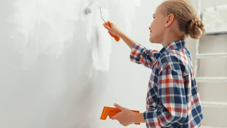 Portrait-Cheerful-Girl-Niño-9-Years-Old-Repairing-Her-House-Using-Paint