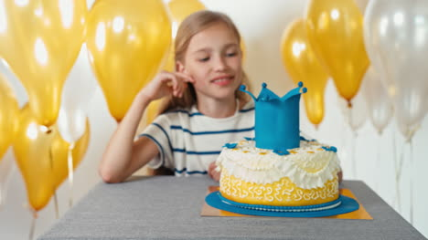 Portrait-Cute-Girl-8-Years-Old-With-Her-Birthday-Cake
