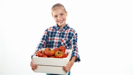 Portrait-Girl-Child-Holding-Box-With-Big-Ripe-Tomatoes-Isolated-On-White