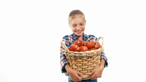 Portrait-Girl-Child-Holding-Wicker-Basket-With-Big-Ripe-Tomatoes-Isolated