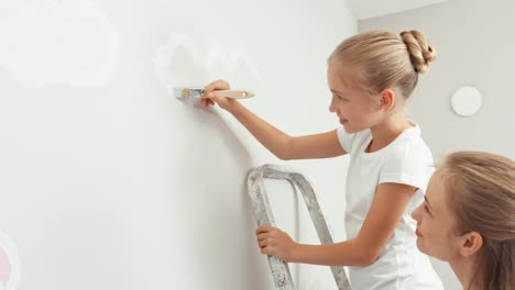 Portrait-Girl-Painting-White-Cloud-On-The-Wall-And-Standing-On-Step-Ladder