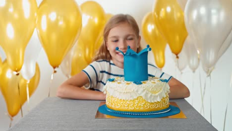 Portrait-Laughing-Girl-9-Years-Old-With-Her-Birthday-Cake
