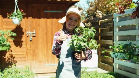 Portrait-Little-Farmer-Girl-Holds-Vegetable-Seedlings-In-Her-Hands