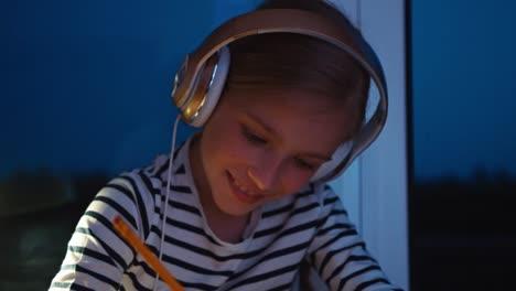 Portrait-Schoolgirl-9-Years-Old-On-Windowsill-At-Night