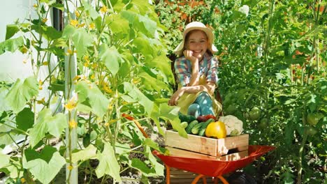 Portrait-Smiling-Child-Girl-8-Aged-With-A-Crop-Of-Vegetables