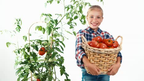 Portrait-Smiling-Girl-8-Aged-Holding-Basket-With-Tomatoes-Child-On-White