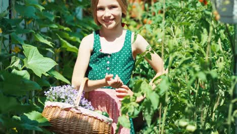 Smiling-Girl-With-Basket-Of-Vegetables-And-Flowers-In-Her-Own-Kitchen-Garden
