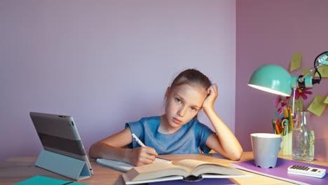 Tired-Student-Doing-Homework-Dolly-Shot