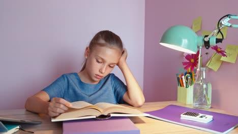 Tired-Student-Girl-Doing-Homework-Dolly-Shot