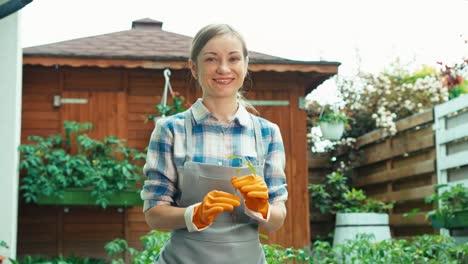 Frau-Hält-Sämling-In-Den-Händen-Bäuerin-Plant-Pflanzen-Im-Boden