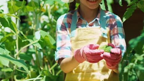 Junges-Bauernmädchen-Hält-Gurke-Im-Freien-In-Den-Händen