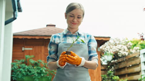 Young-Woman-Holds-Seedlings-Vegetables-In-Her-Kitchen-Garden