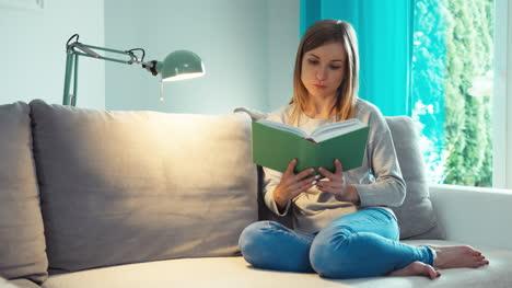 Libro-De-Lectura-De-Mujer-Joven-En-El-Salón