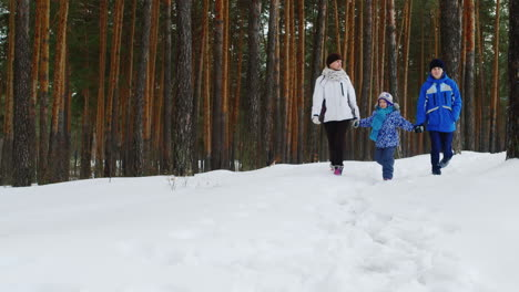 Mother-Walks-With-Her-Two-Children-In-Snow-02