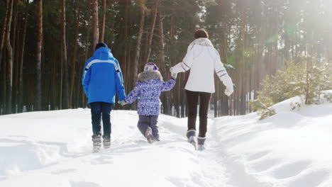 Mother-Walks-With-Her-Two-Children-In-Snow-03