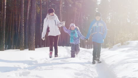 Mother-Walks-With-Her-Two-Children-In-Snow-05
