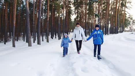 Mother-Walking-Playfully-With-Children-In-The-Snow-02