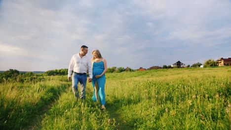 Man-and-Pregnant-Woman-Walking-in-Meadow
