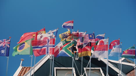 Several-National-Flags-Against-The-Blue-Sky