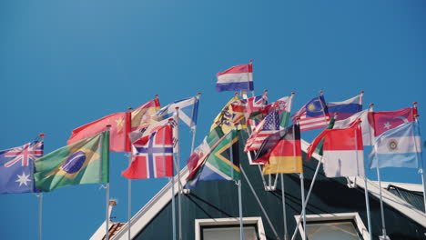 National-Flags-Against-The-Blue-Sky