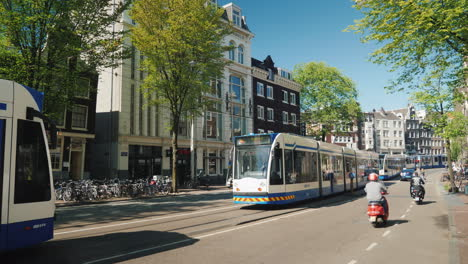 Trams-And-Bicyclists-in-Amsterdam