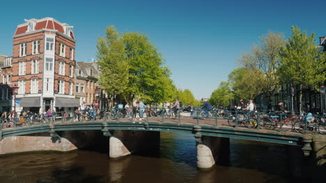 Cyclists-And-Pedestrians-on-an-Amsterdam-Bridge