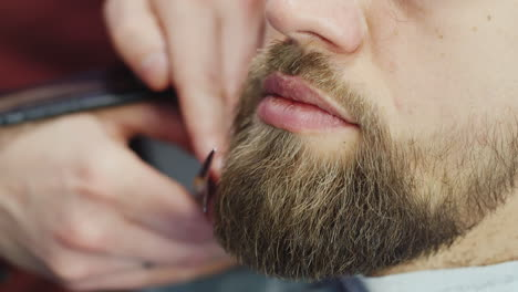 Close-Up-Of-Beard-Being-Trimmed-By-Barber