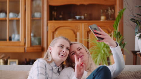 Two-Positive-Energetic-Women-Taking-Selfie-Photo-On-A-Sofa-In-Luxury-Modern-Living-Room-3